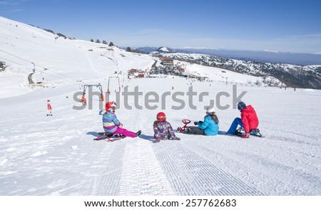 ski slope, children skier - stock photo