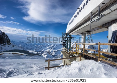 Ski slope in Alagna, Italy - stock photo