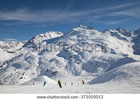 ski slope in Meribel, French Alps - stock photo