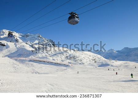 Ski slope in Val Thorens, trois vallees complex, France - stock photo