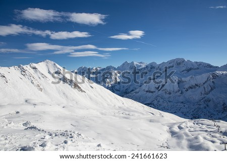 Ski Slope near Madonna di Campiglio Ski Resort, Dolomite Mountains, Italy - stock photo