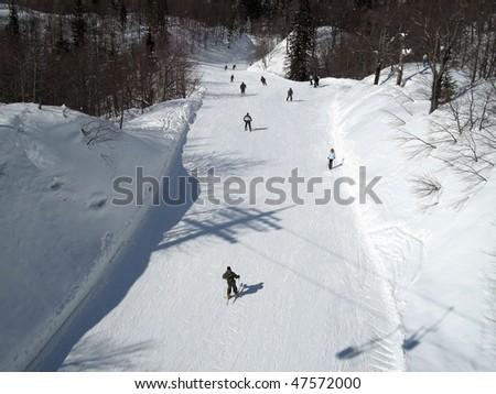 ski slope on mountain in Slovenia - stock photo