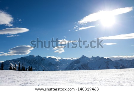 Ski slopes in Zell Am See, Schmitten peak, next to Kaprun resort in Austrian Alps - stock photo