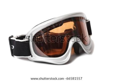 ski snowboard goggles on white background - stock photo
