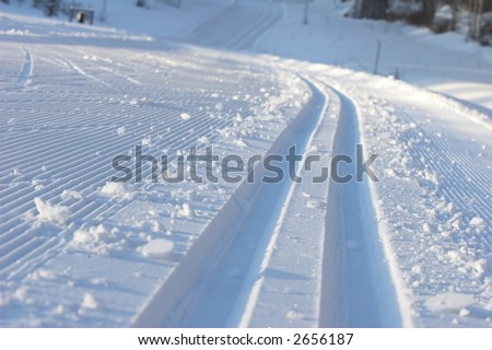 ski tracks - stock photo