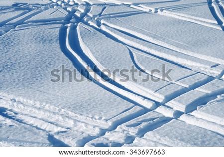 Ski tracks - stock photo