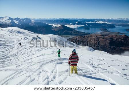 ski tracks in the mountains - stock photo