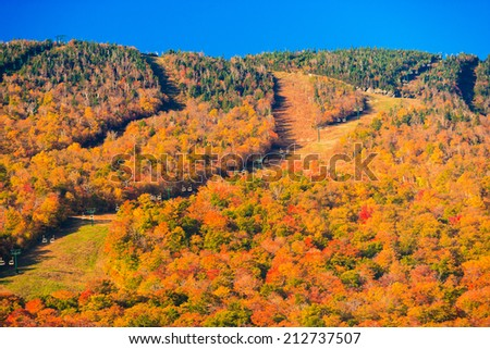 Ski trails at Stowe Mountain Resort during autumn, Stowe Vermont, USA - stock photo