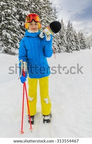 Ski, winter vacation, snow, skier girl enjoying ski vacations - stock photo