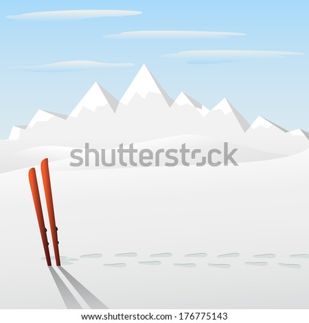 ski with montain on background - stock photo