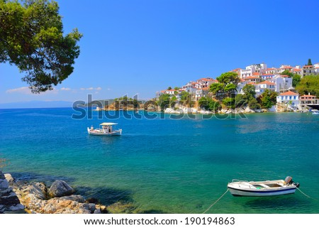 Skiathos town bay in summer,  Skiathos island, Sporades archipelago, Greece - stock photo