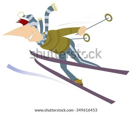 Skier. Cartoon man go skiing  - stock photo