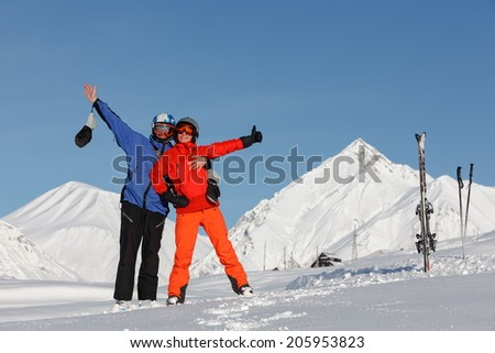 Skier have fun in high winter mountains of Georgia - stock photo