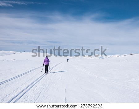 Skiers in the Norwegian Mountains at easter following a groomed track in a flat terrain - stock photo