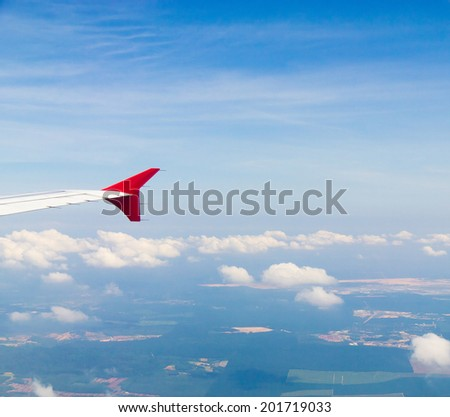 Skies above and below Vacation Starts  - stock photo