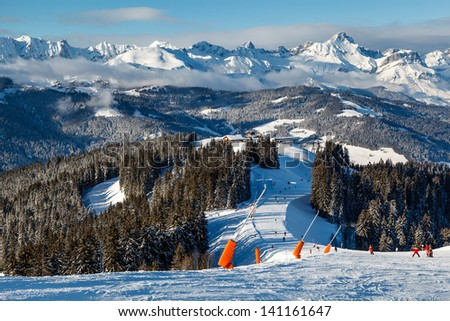Skiing and Snowboarding in French Alps, Megeve - stock photo