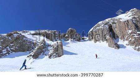 Skiing in Jackson, Wyoming - stock photo