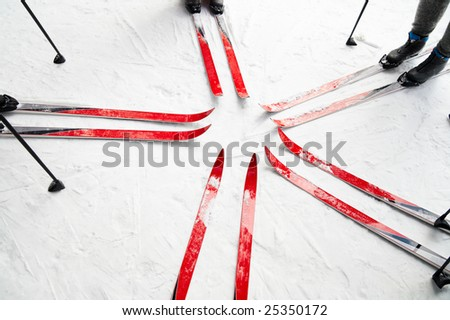 skiing in the forest, group of people - stock photo