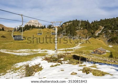 skiing region at Salobersattel in Austria in autumn - stock photo