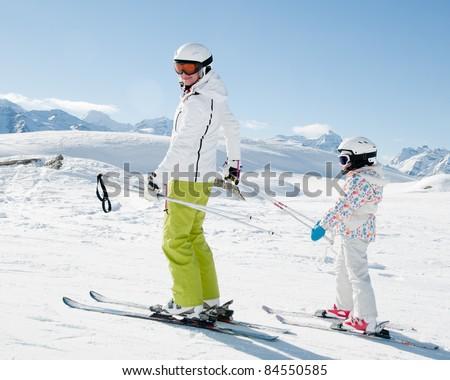 Skiing - ski lesson - stock photo