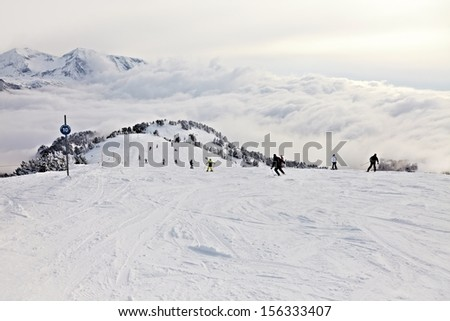 Skiing slope in the French Alpes - stock photo