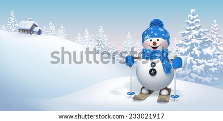 skiing snowman in winter forest, Christmas holiday background illustration - stock photo