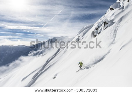 skiing under extreme conditions alone the death dangerous exposed - stock photo