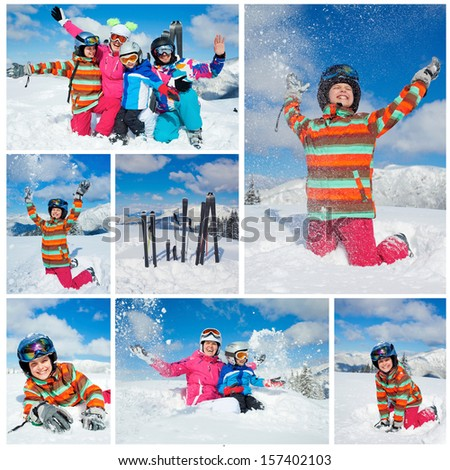 Skiing, winter, snow, sun and fun. Collage of images of family enjoying winter vacations - stock photo