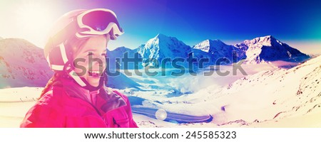 Skiing, winter sport - skier on mountainside, filtered - stock photo