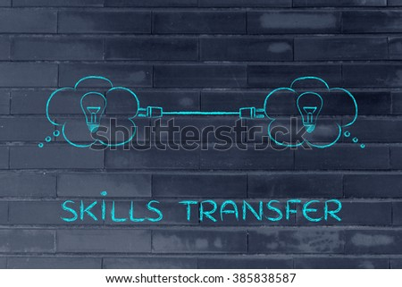 skill transfer: thought bubbles with lightbulb connected with a plug - stock photo