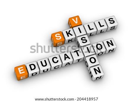 skill vision education (orange-white crossword puzzles series) - stock photo