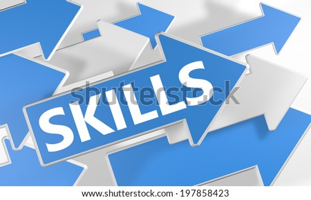 Skills 3d render concept with blue and white arrows flying over a white background. - stock photo