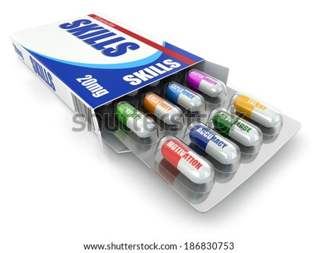 Skills for success. Box of pills with a list of positive qualities for employment. 3d - stock photo