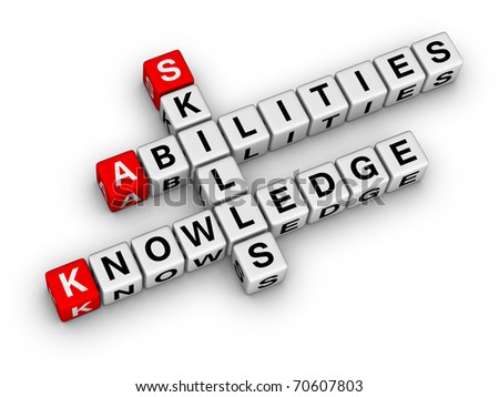Skills, Knowledge, Abilities (crossword series) - stock photo