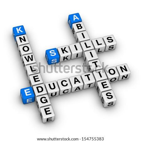 Skills, Knowledge, Abilities, Education crossword puzzle - stock photo