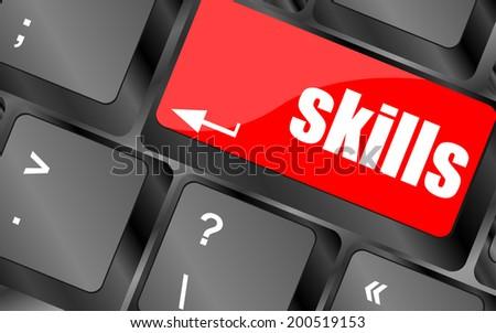 skills message on enter key of keyboard - stock photo