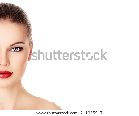 Skin care and rejuvenation therapy on pretty woman face. Close-up portrait of attractive Caucasian female model with red lips isolated over white background.   - stock photo