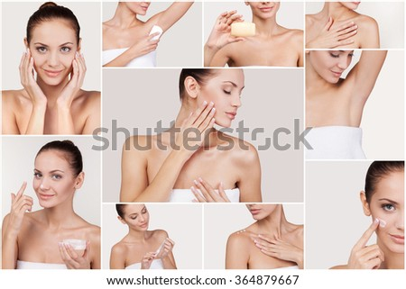 Skin care. Collage of beautiful young woman making beauty routine while standing against white background - stock photo