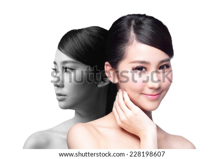 Skin Care woman after and before - portrait of the woman with beauty face and perfect skin isolated on white background, asian - stock photo