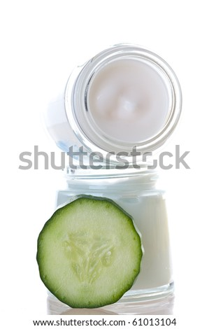 Skin cream and beauty flower - stock photo