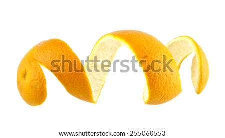 skin of orange isolated on a white background - stock photo