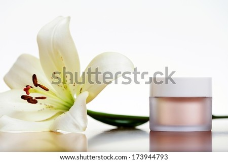 Skincare cream isolated on white background. - stock photo