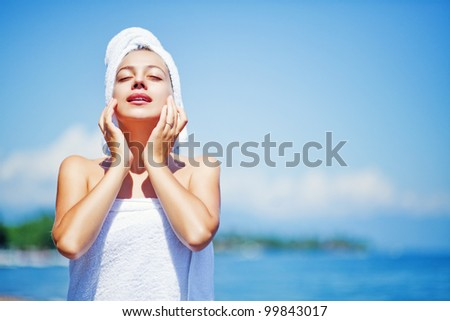 skincare outdoors - stock photo