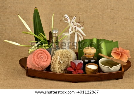Skincare with flowers Crinum Lily gel mixed with coconut oil and sesame oil is made from natural ingredients for healthy skin. - stock photo