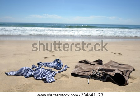 Skinny dipping in the sea. travel concept  - stock photo