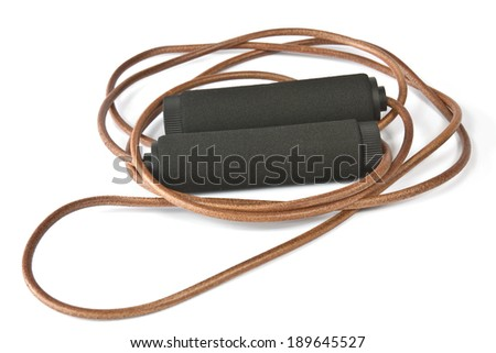 Skipping rope leather cardio workout on white background - stock photo
