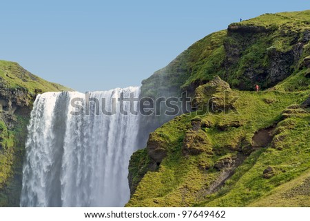 Skogafoss falls in Iceland - stock photo