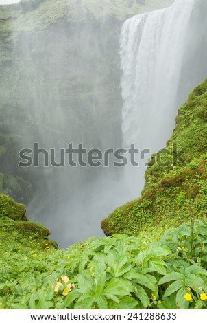 Skogafoss waterfall, Iceland - stock photo