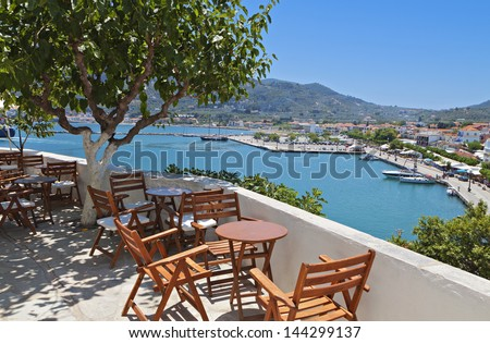 Skopelos island in Greece. View of the harbor. - stock photo