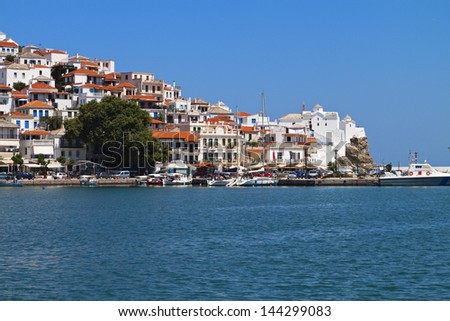 Skopelos island in Greece. View of the old port - stock photo